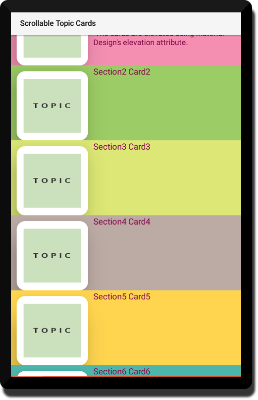Android Tutorial Topic Cards that Scroll