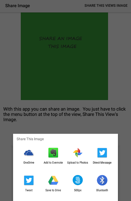 Share Image App with prompt