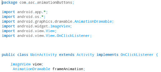 onClick Listeners Code Frame Animation with Buttons